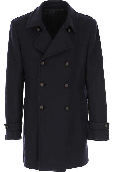 Tagliatore Men's Coat in Outlet Navy Blue USA - GOOFASH