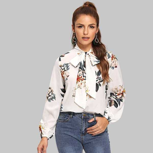 Tie Neck Floral Blouse in Multicolor by ROMWE on GOOFASH