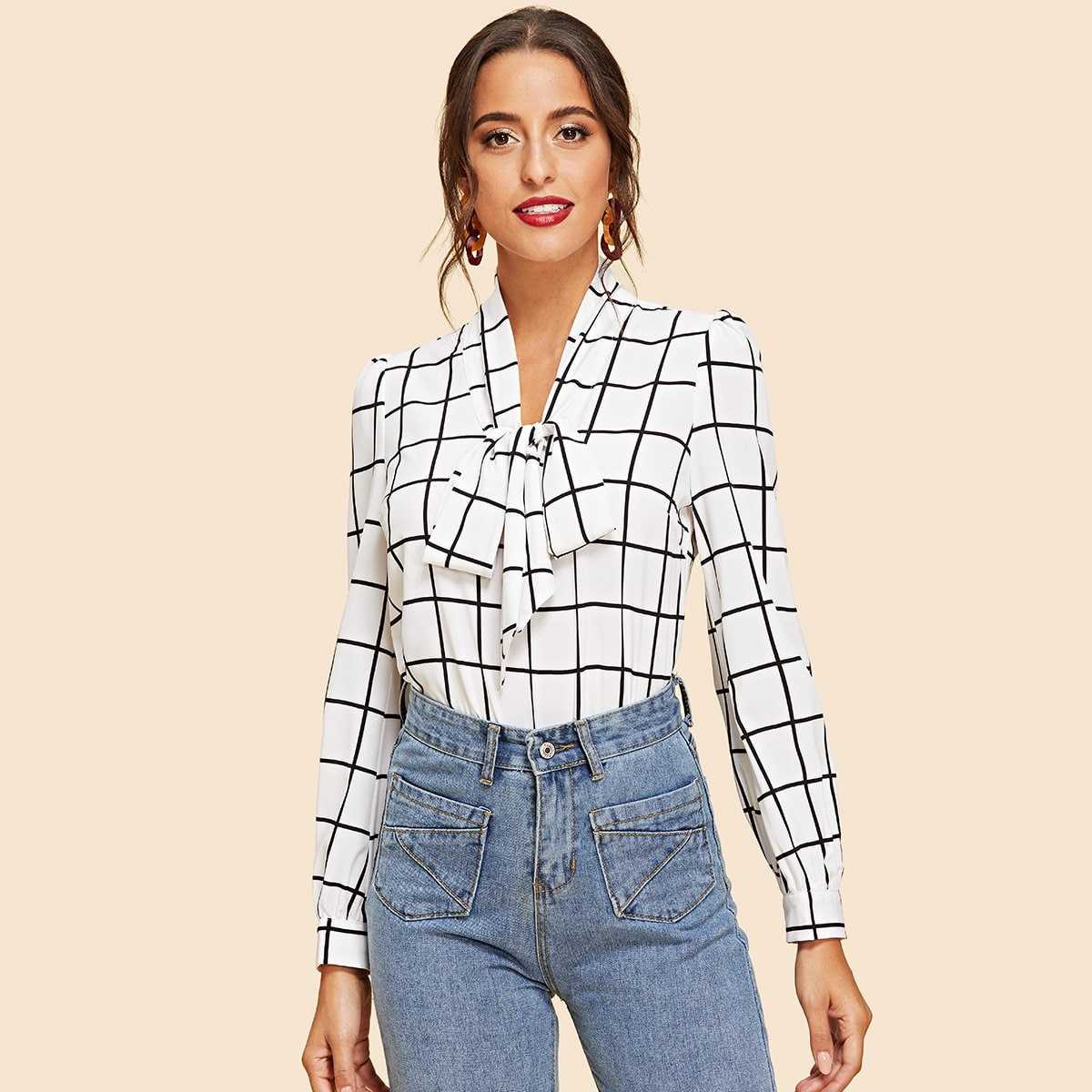 Tie Neck Grid Blouse in Black and White by ROMWE on GOOFASH