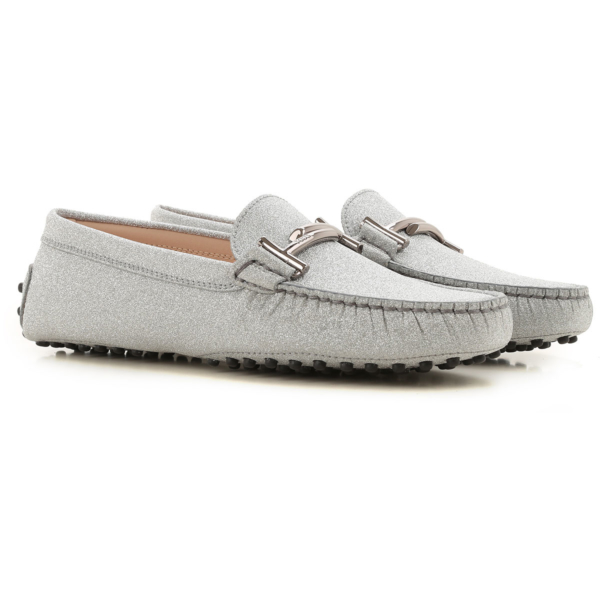 Tods Loafers for Women Glitter Silver USA - GOOFASH