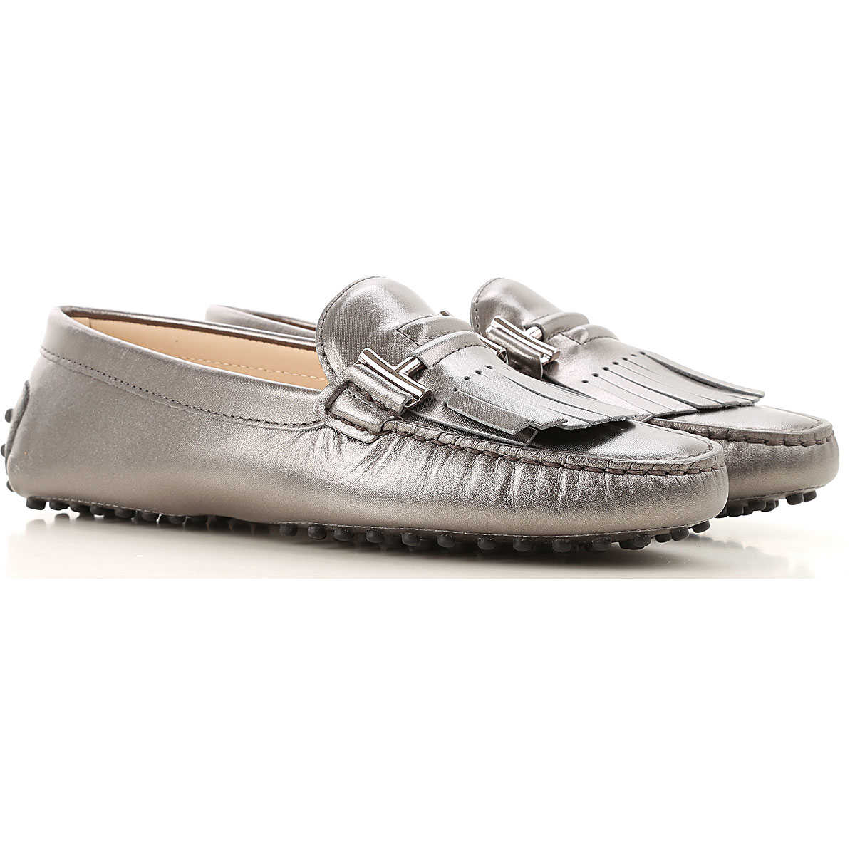 Tods Loafers for Women Mid Grey USA - GOOFASH