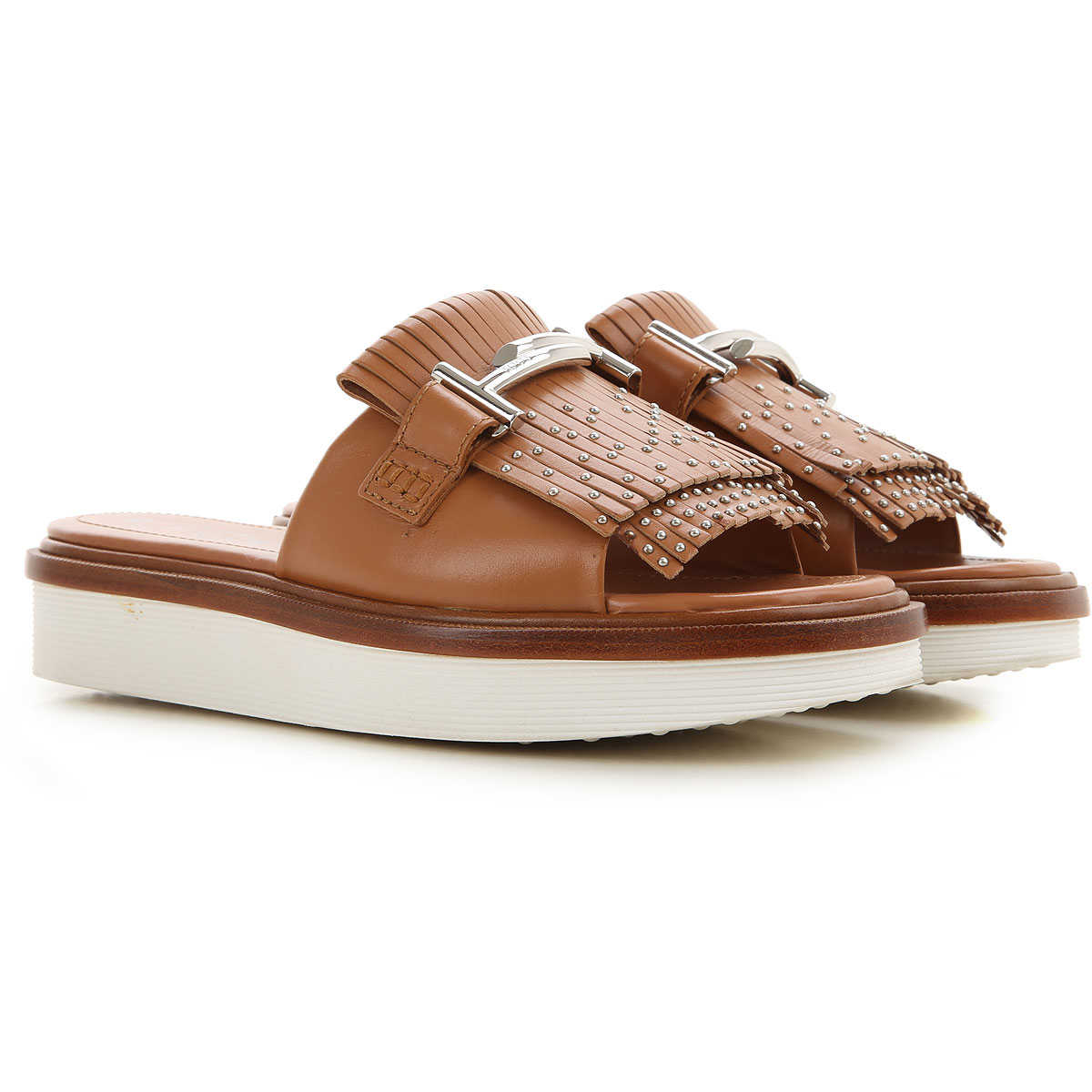 Tods Sandals for Women Leather Brown SE - GOOFASH