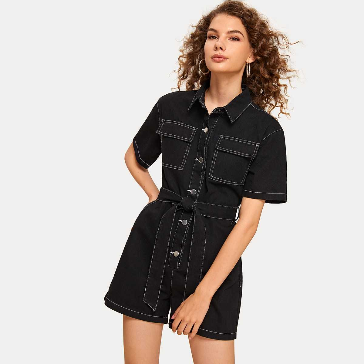 Topstitching Pocket Front Belted Denim Overalls in Black by ROMWE on GOOFASH