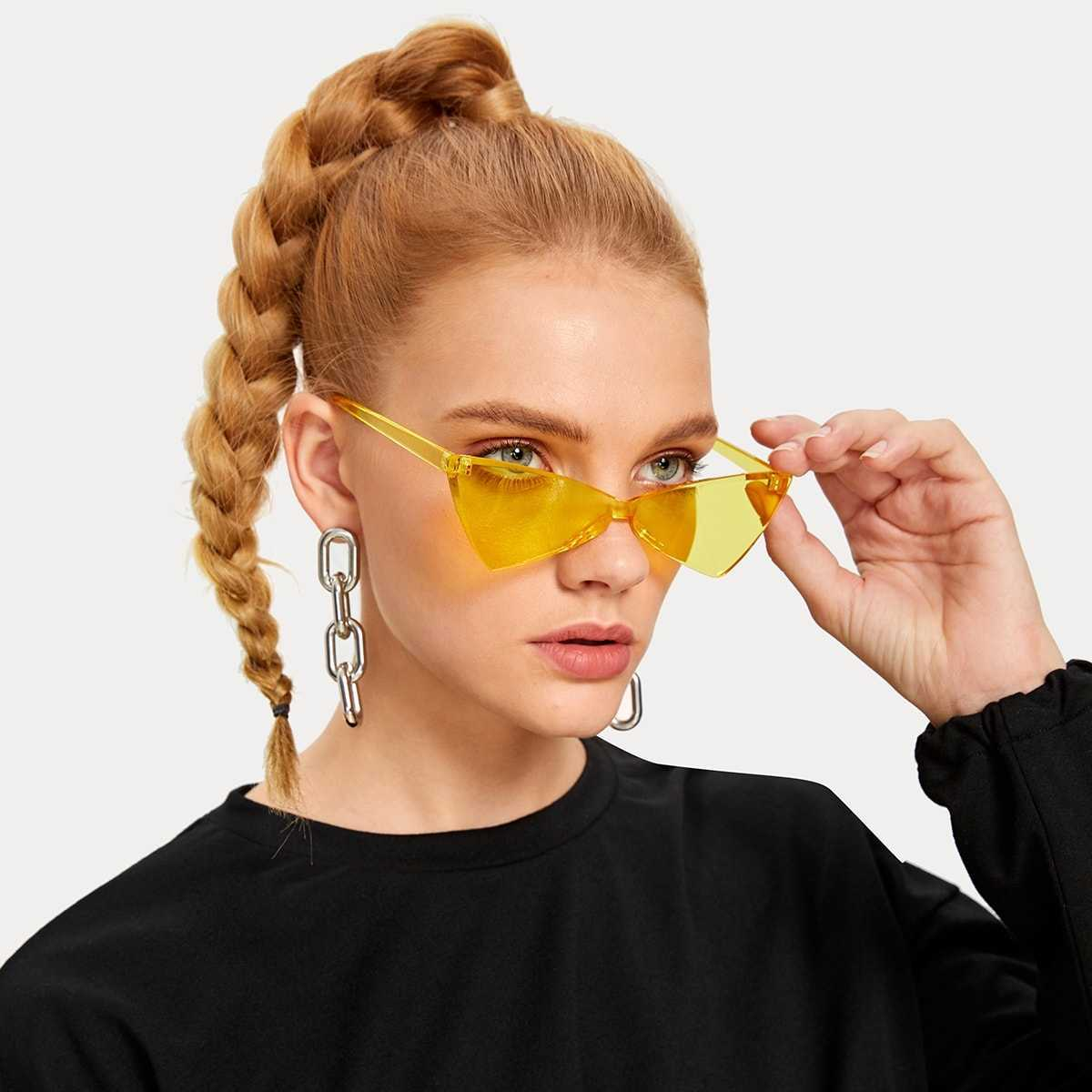Triangle Rimless Colored Lens Sunglasses in Yellow by ROMWE on GOOFASH