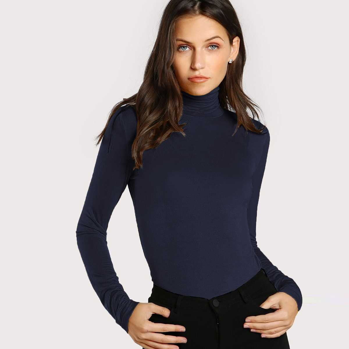 Turtleneck Slim Fit T-shirt in Navy by ROMWE on GOOFASH
