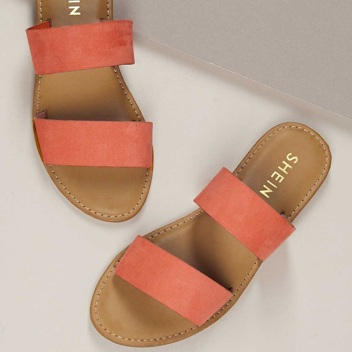 Twin Bands Open Toe Flat Slide Sandals in Multicolor by ROMWE on GOOFASH
