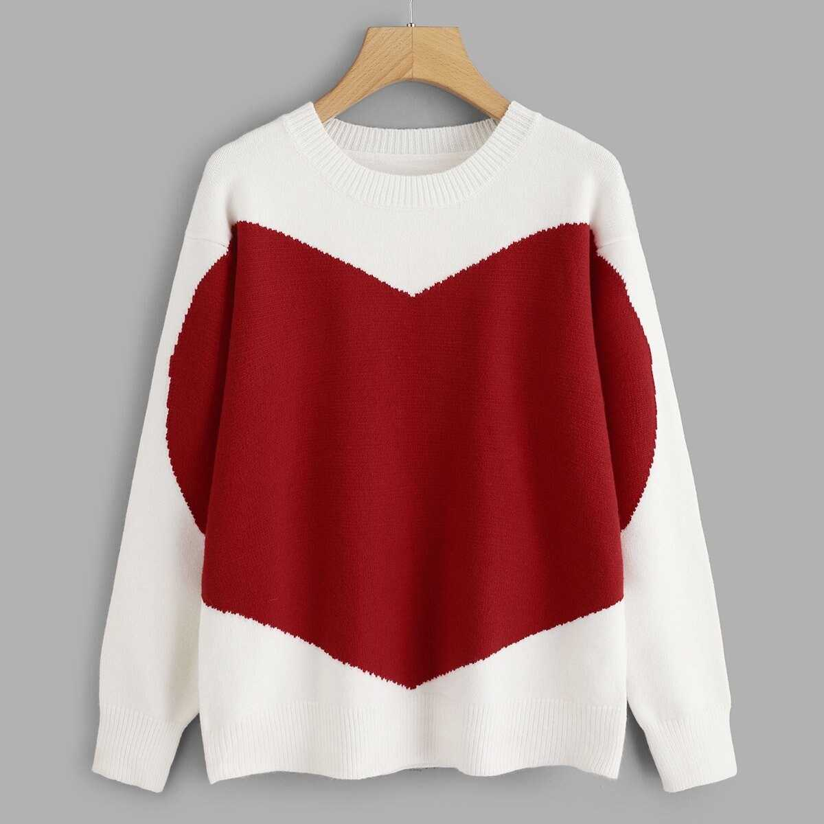Two Tone Heart Pattern Sweater - Shein - GOOFASH