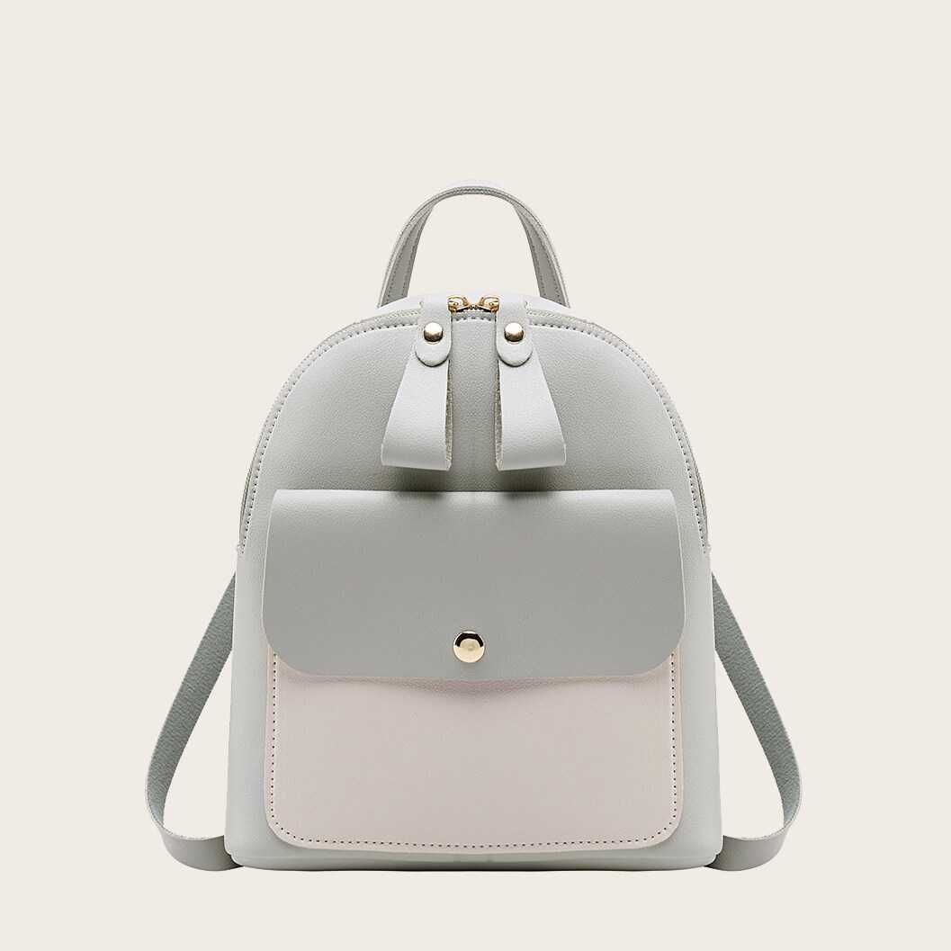 Two Tone Pocket Front Backpack in Grey by ROMWE on GOOFASH