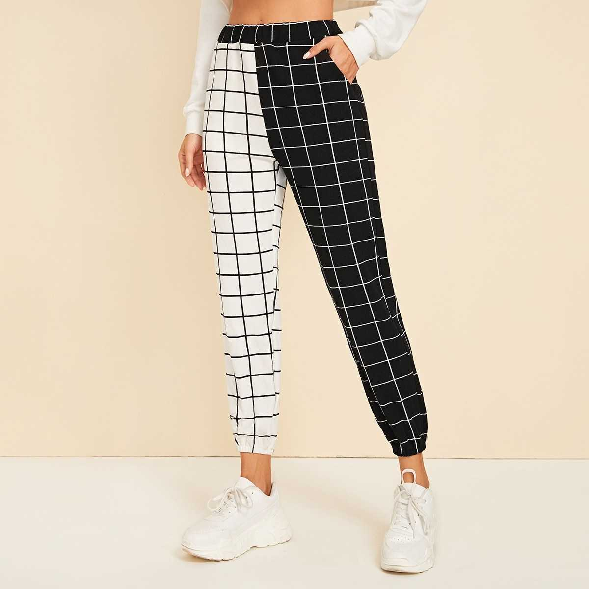 Two Tone Slant Pocket Grid Pants in Black and White by ROMWE on GOOFASH