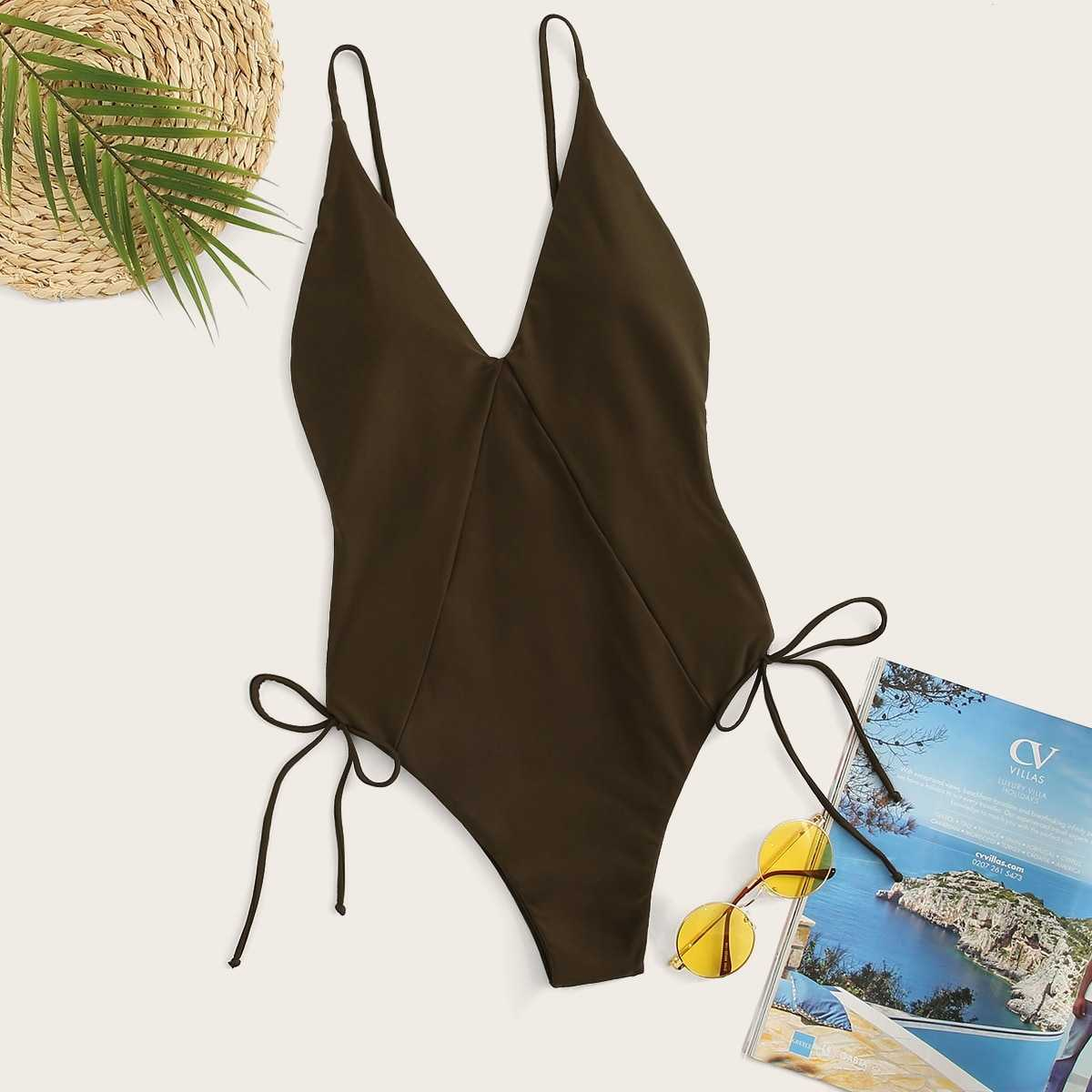 V-Plunge Backless Lace-up Side One Piece Swimsuit in Brown by ROMWE on GOOFASH
