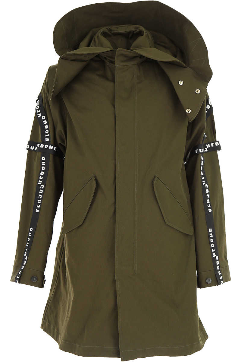 Versace Men's Coat in Outlet Military Green USA - GOOFASH