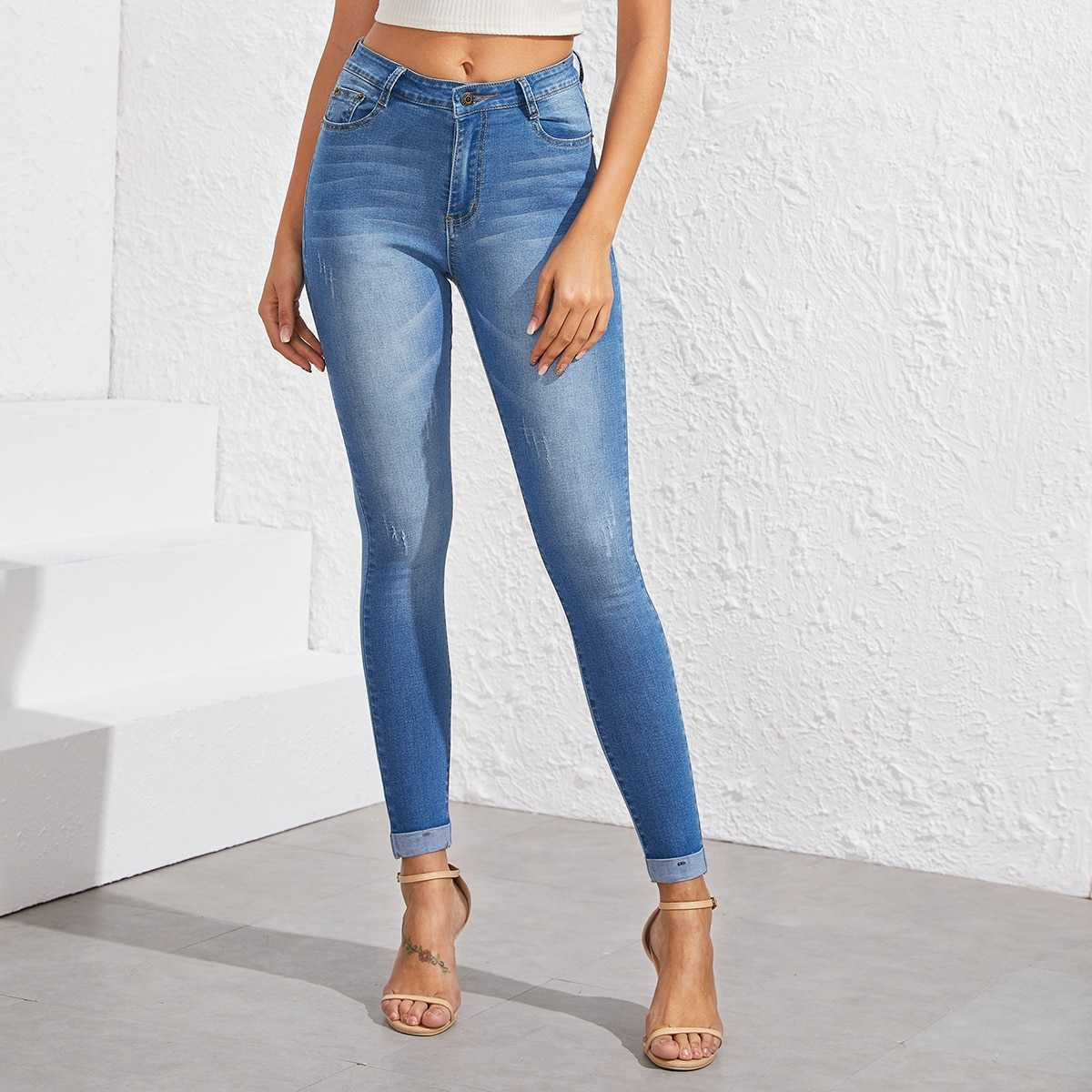 Washed Cuffed Hem Skinny Jeans in Blue by ROMWE on GOOFASH