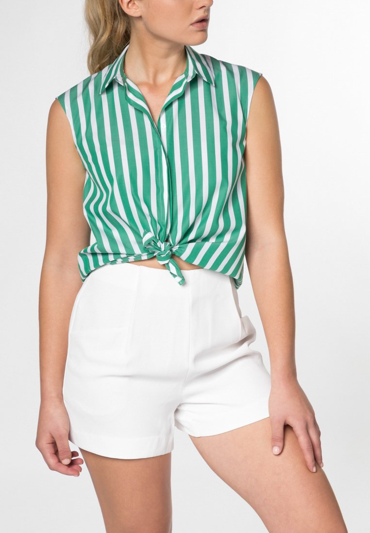 Without Sleeves Blouse 1863 By Eterna - Premium Poplin Green/White Striped UK - GOOFASH
