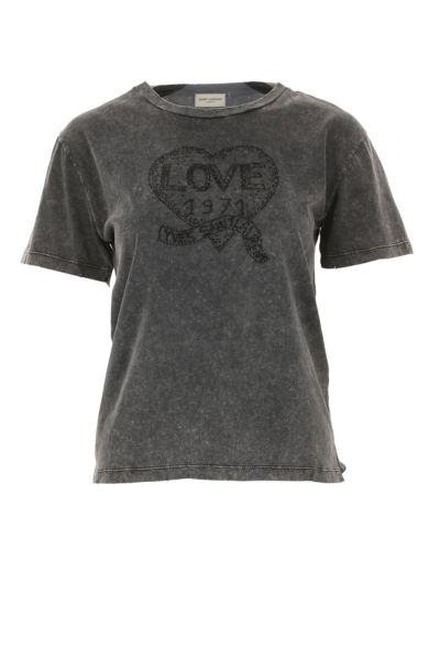 Yves Saint Laurent T-Shirt for Women On Sale in Outlet Anthracite Grey SE - GOOFASH