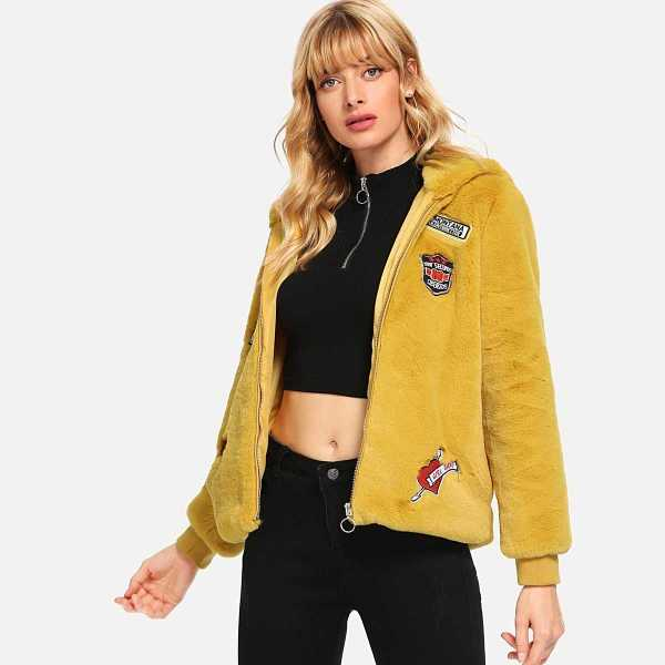 Zip Front Letter Hoodie Teddy Coat in Yellow by ROMWE on GOOFASH