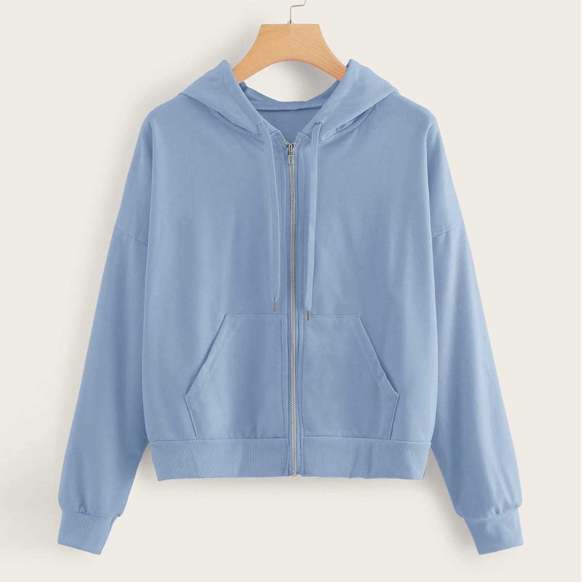 Zip Up Pocket Front Drawstring Hoodie in Blue by ROMWE on GOOFASH