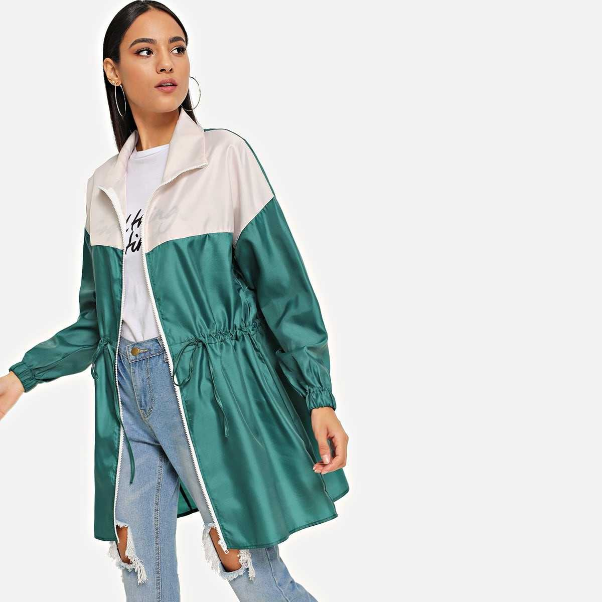 Zipper Up Drawstring Color Block Rain Coat in Multicolor by ROMWE on GOOFASH