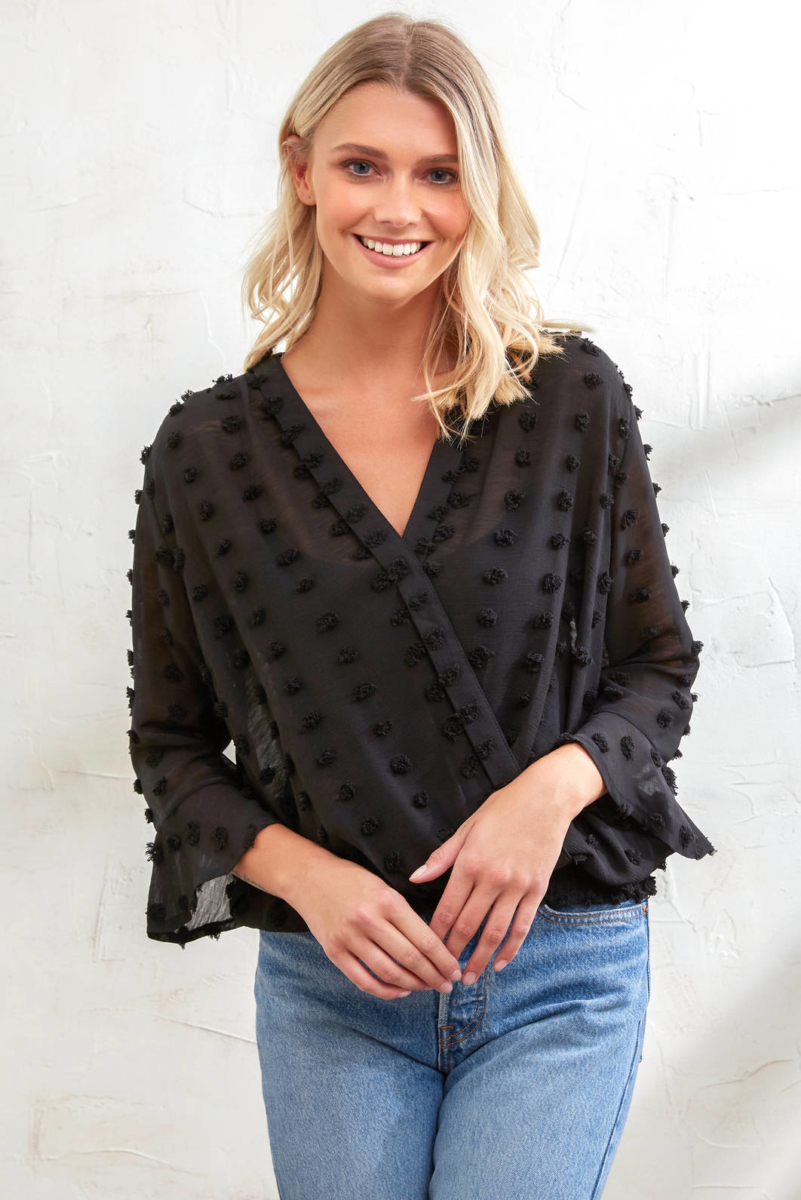 Abbeline Swiss Dot Smocked Bottom Blouse Black S USA - GOOFASH