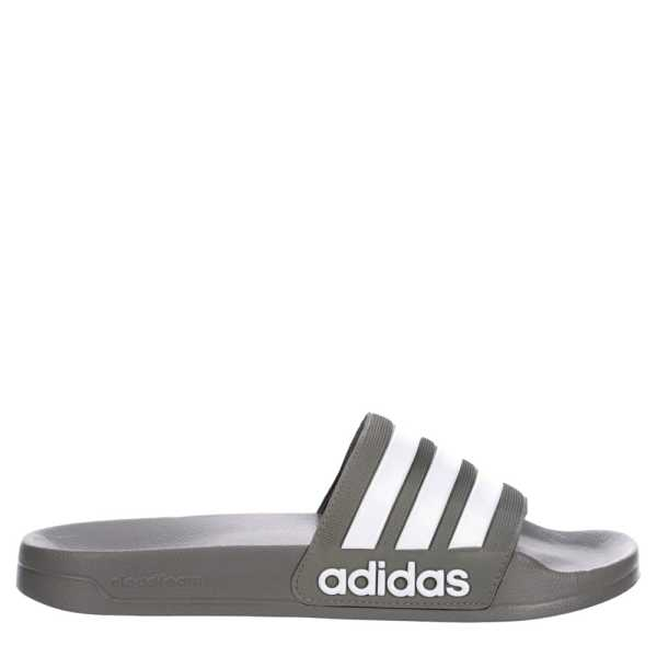 Adidas Mens Adilette Shower Slide Sandals Grey USA - GOOFASH - Mens SANDALS