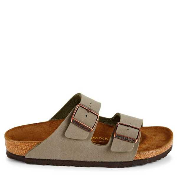 Birkenstock Mens Arizona 2 Strap Slide Sandal Stone USA - GOOFASH - Mens SANDALS
