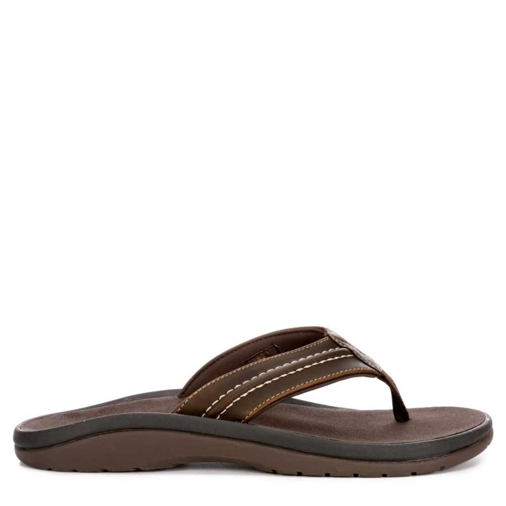 Dockers Mens Pacific Leather Flip Flop Sandal Brown USA - GOOFASH - Mens SANDALS