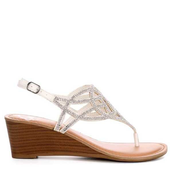 Fergalicious Womens Charity Wedge Sandal White USA - GOOFASH - Womens SANDALS