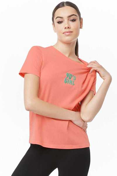 Forever2190s Girl Graphic Tee Shirt - Pink/Teal UK - GOOFASH