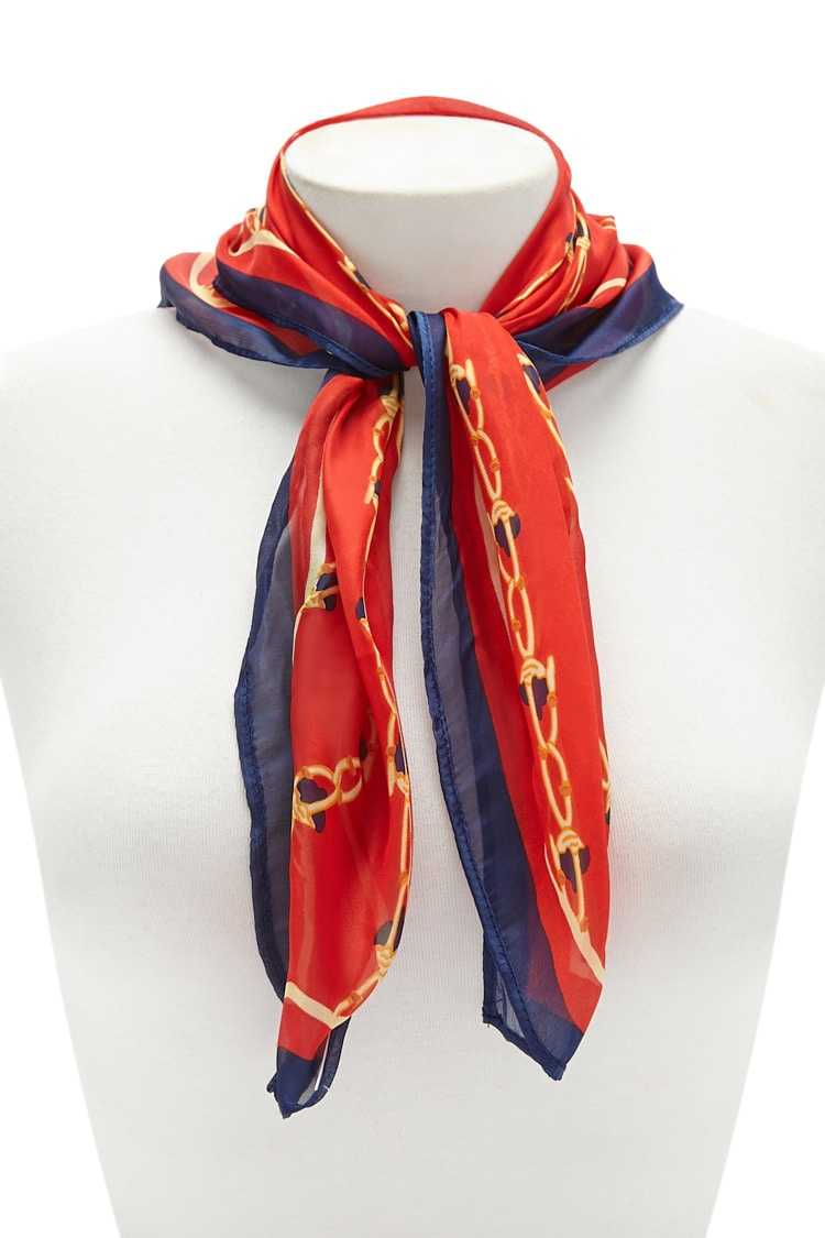 Forever21Chain Print Scarf - Red/Multi UK - GOOFASH