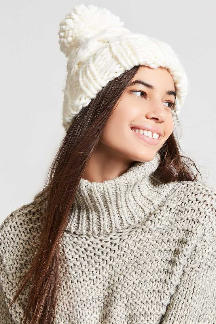 Forever21Chunky Cable-Knit Beanie Hat - Cream UK - GOOFASH