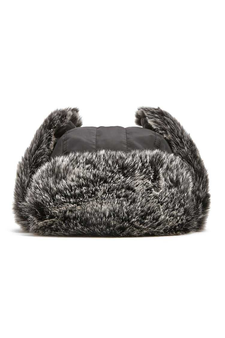 Forever21Faux Fur Trapper Hat - Black/Grey UK - GOOFASH