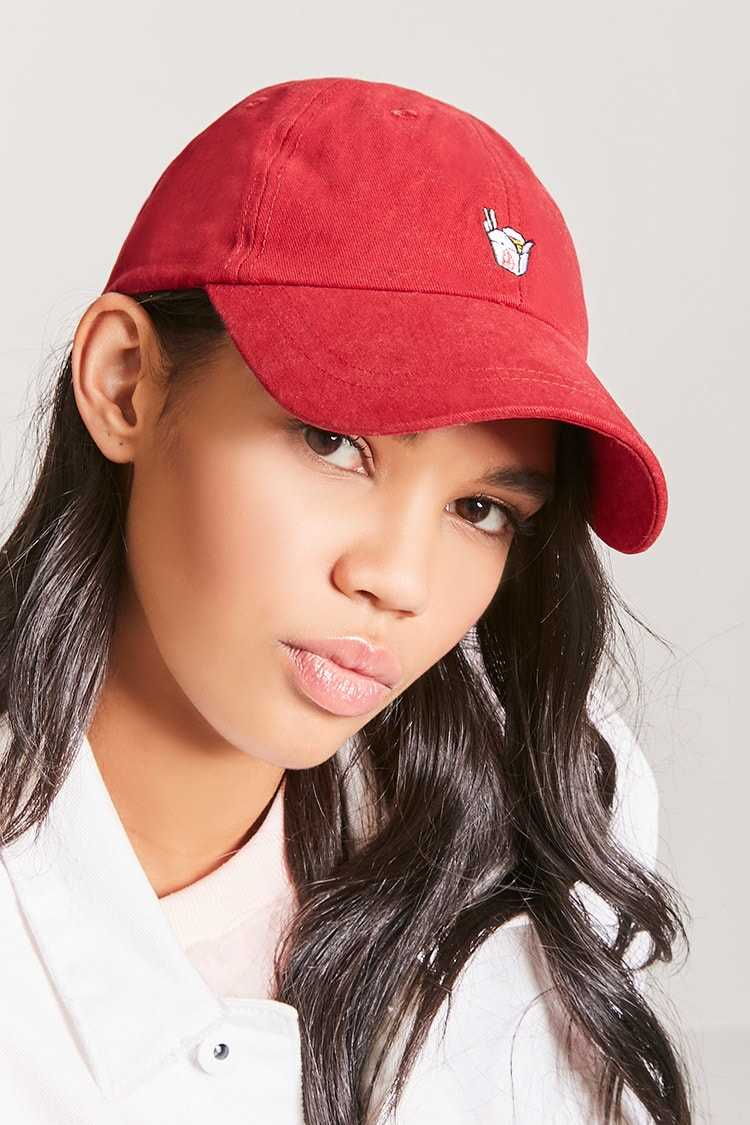 Forever21Food Container Graphic Dad Hat - Red/Multi UK - GOOFASH