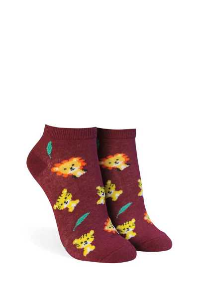 Forever21Lion & Tiger Print Ankle Socks - Burgundy/Multi UK - GOOFASH
