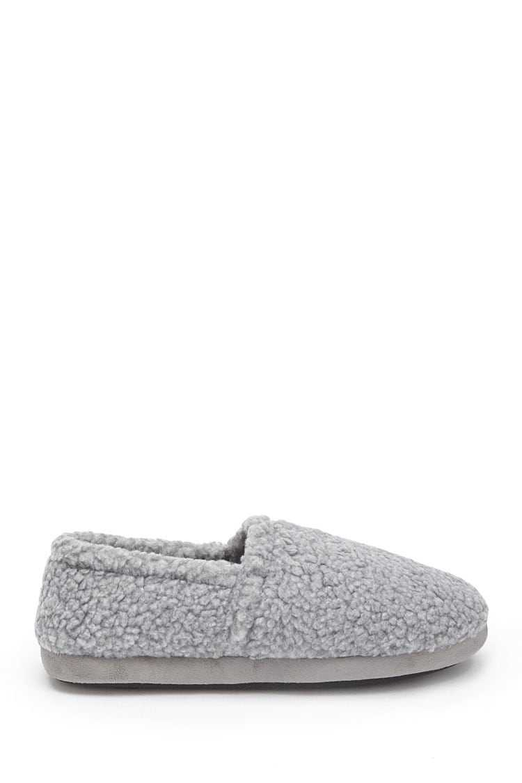 Forever21Men Faux Shearling Slippers - Grey UK - GOOFASH