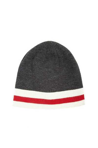 Forever21Men Ribbed Striped Beanie Hat - Grey/Cream UK - GOOFASH