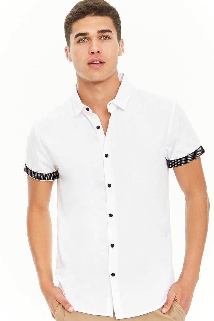 Forever21Men's Classic Contrast-Trim Button-Up Shirt - White/Black UK - GOOFASH