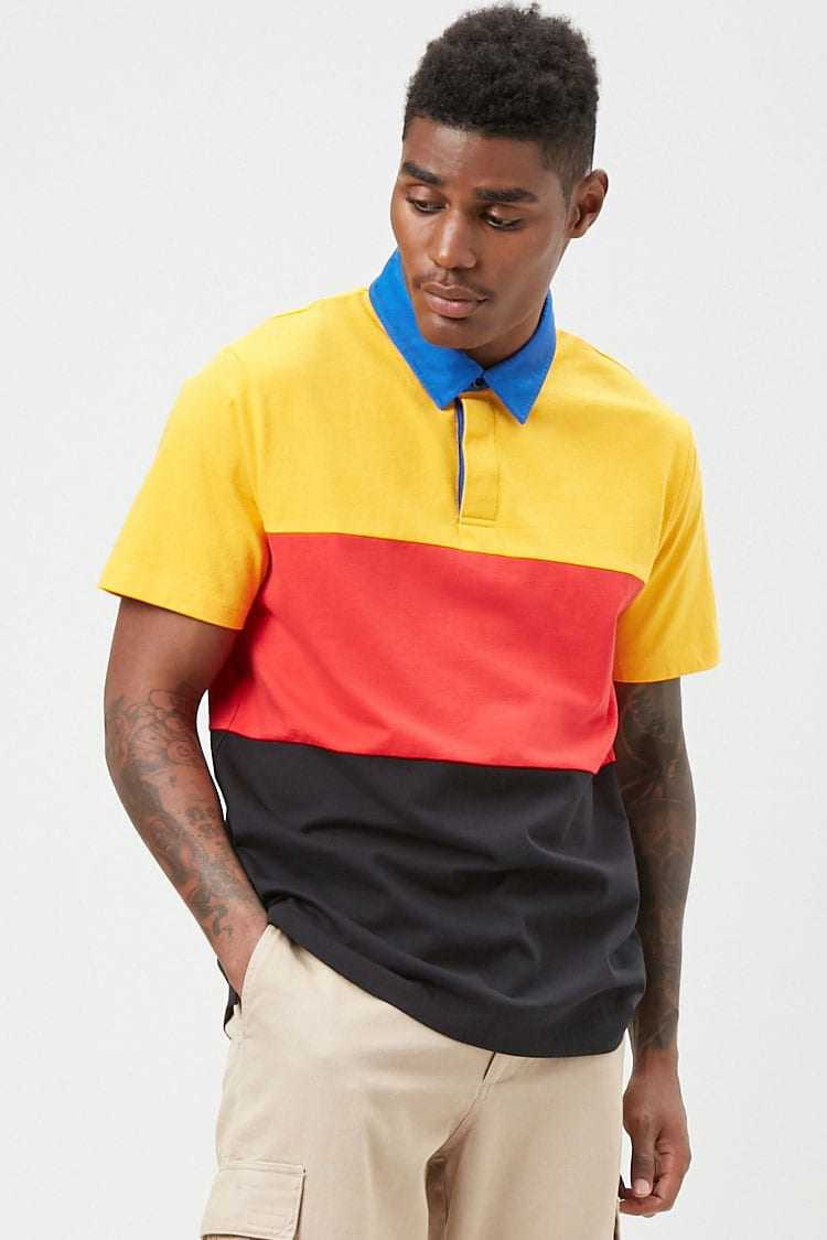 Forever21Men's Colorblock Cotton Polo Shirt - Mustard/Black UK - GOOFASH