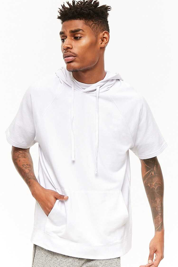 Forever21Men's French Terry Hoodie - White UK - GOOFASH