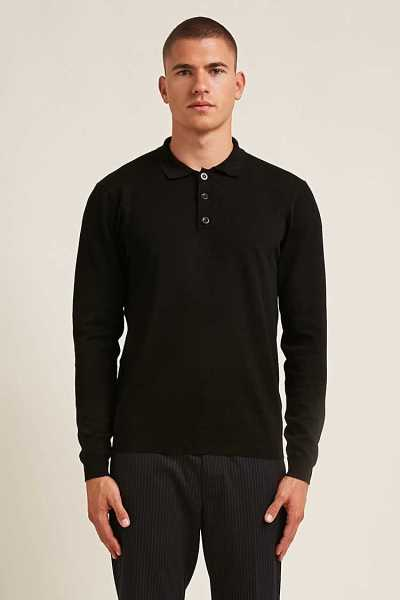 Forever21Men's Long-Sleeve Polo Shirt - Black UK - GOOFASH