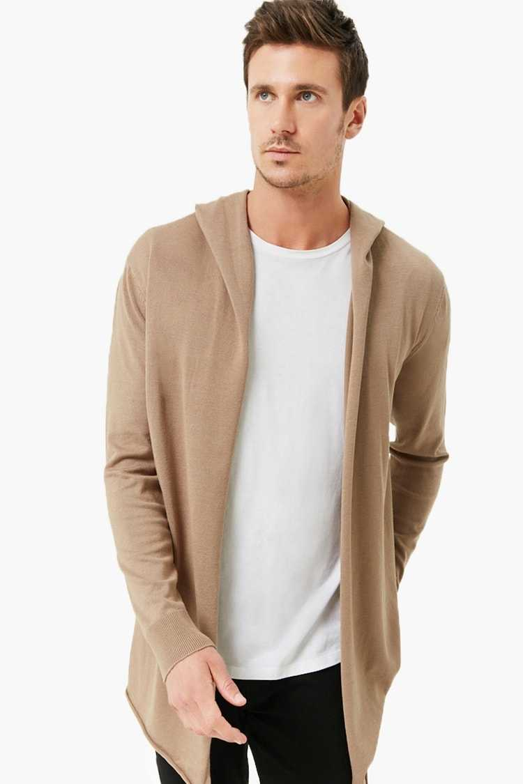 Forever21Men's Longline Hooded Cardigan Sweater - Taupe UK - GOOFASH