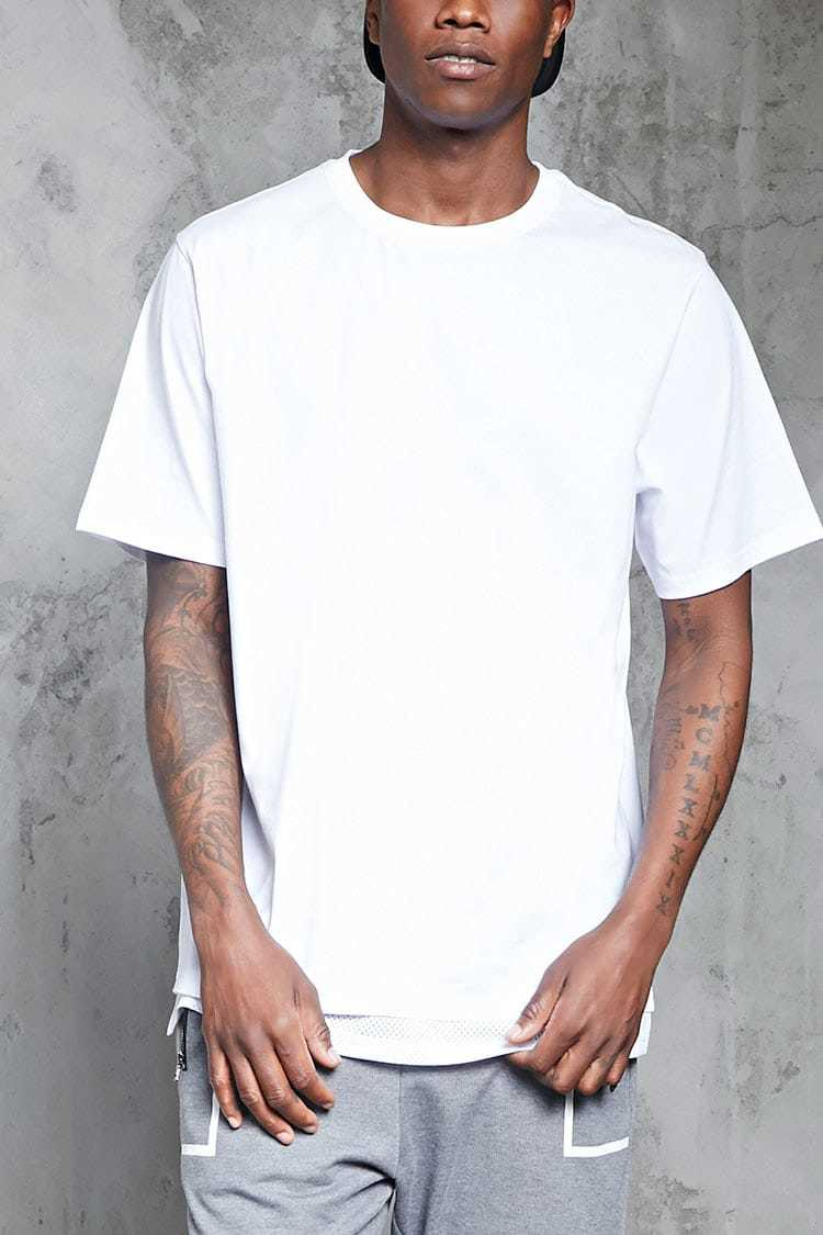Forever21Men's Mesh Dual Hem Tee Shirt - White UK - GOOFASH