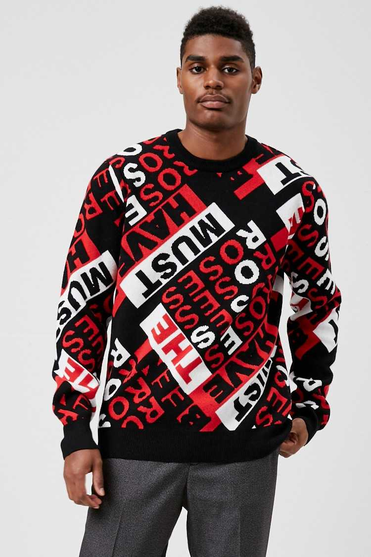 Forever21Men's Must Have The Roses Graphic Jumper Sweater - Black/Red UK - GOOFASH