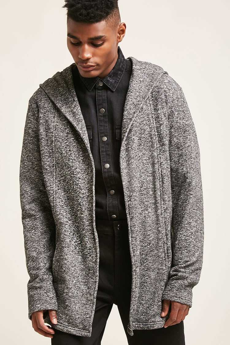 Forever21Men's Open-Front Hooded Cardigan Sweater - Grey UK - GOOFASH