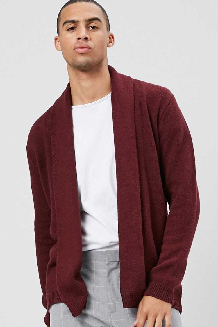 Forever21Men's Open-Front Knit Cardigan Sweater - Burgundy UK - GOOFASH