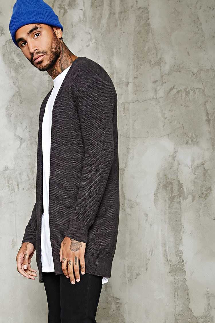 Forever21Men's Open-Front Longline Cardigan Sweater - Charcoal UK - GOOFASH