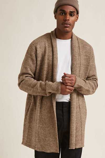 Forever21Men's Open-Front Longline Cardigan Sweater - Taupe UK - GOOFASH