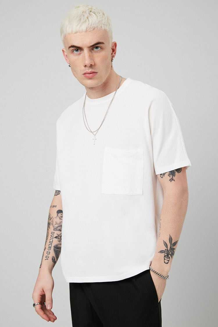 Forever21Men's Pique Knit Pocket Tee Shirt - White UK - GOOFASH
