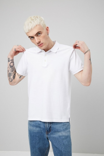 Forever21Men's Pique Knit Polo Shirt - White UK - GOOFASH