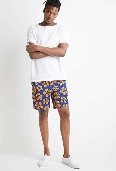 Forever21Men's Pop Art Floral Drawstring Shorts - Blue/Orange UK - GOOFASH