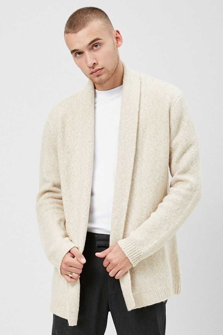 Forever21Men's Shawl Open-Front Cardigan Sweater - Taupe UK - GOOFASH