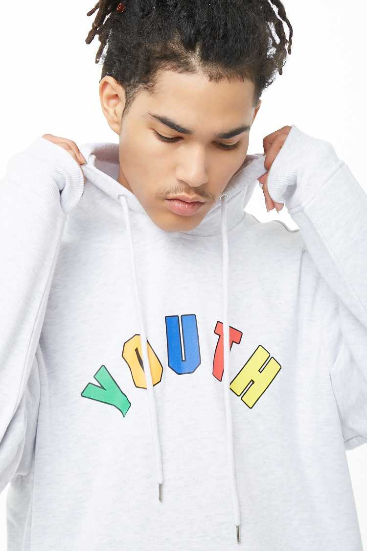 Forever21Men's Youth Graphic Hoodie - Heather Grey/Multi UK - GOOFASH